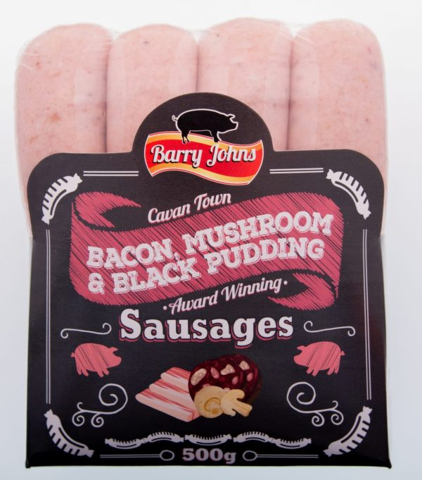 Bacon, Mushroom & Black Pudding Sausages