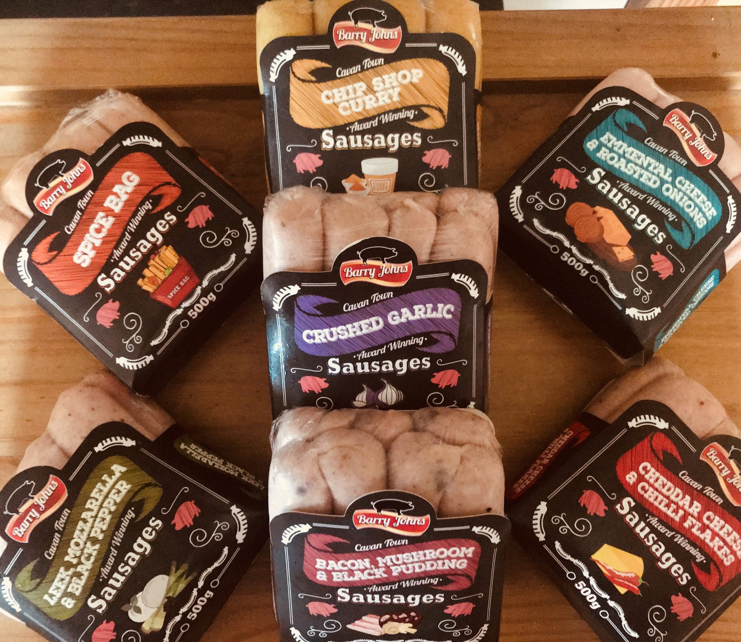 Selection of Quirky Flavoured Barry John Sausages