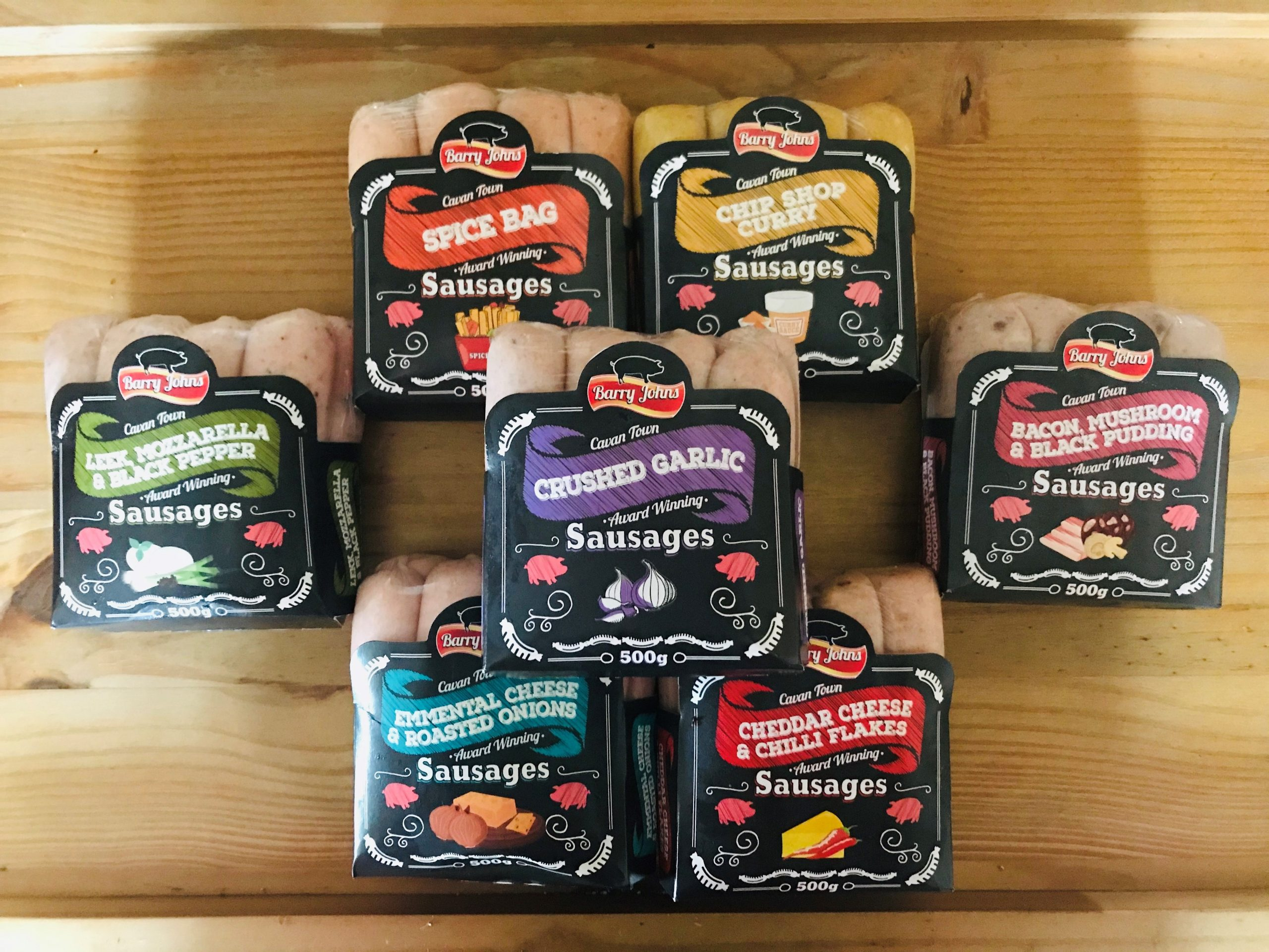 Selection of Gourmet Barry John Sausages - Handmade Flavoured Sausages